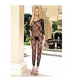 LEG AVENUE LONG SLEEVED FOOTLESS BOW LACE BODY
