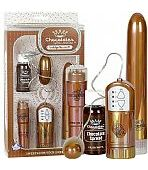 KIT ERÓTICO COM VIBRADOR, CÁPSULA E MASSAGEADOR CORPORAL - CHOCOLATE COLORED METALLIC